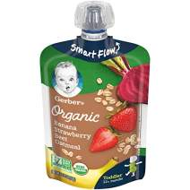 Gerber Organic Purees, Banana, Strawberry, Beet & Oatmeal Toddler Food, 3.5 Ounce Pouch (Pack of 12)