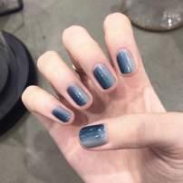 Asooll 24PCS Shiny Fake Nails Full Cover Medium Square Ballerina Gray Gradient Blue False Nails Coffin Art Tips for Women and Girls