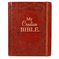KJV Holy Bible, My Creative Bible, Brown Hardcover Faux Leather Journaling Bible w/Ribbon Marker, 400 Scripture Illustrations to Color, King James Version