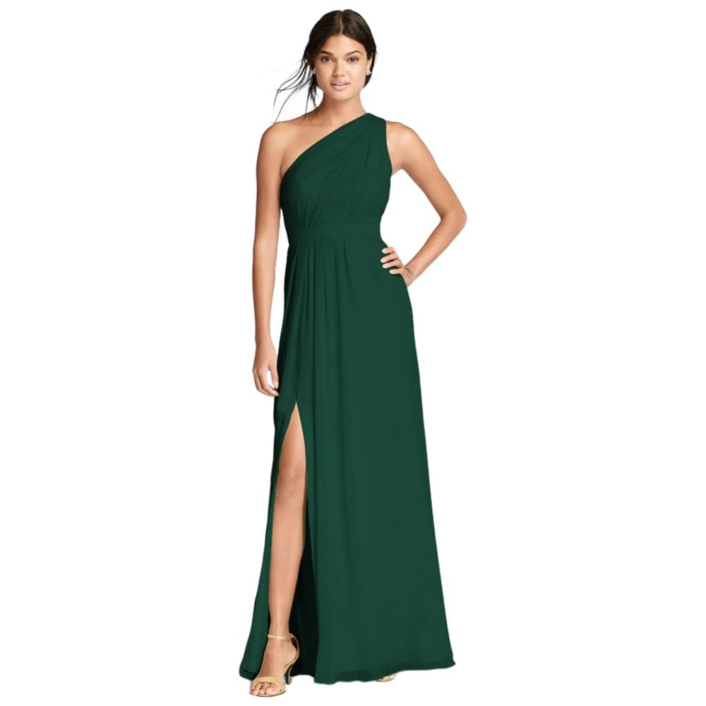 David's Bridal Long One-Shoulder Crinkle Chiffon Bridesmaid Dress Style F18055, Juniper, 6