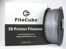 Silver PLA 3D Printer 1.75mm Filament - FilaCube 1.75 mm 1kg PLA 2 3D Printing Plastic Silver Filament [Made in USA] 1 kg/roll Metallic Pen polylactic Acid Plus pro pla+ pla++ plapro propla plaplus