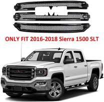 YOUNGERCAR Grille Cover for 2016 2017 2018 GMC Sierra 1500 SLT Gloss Black ABS Front Grill