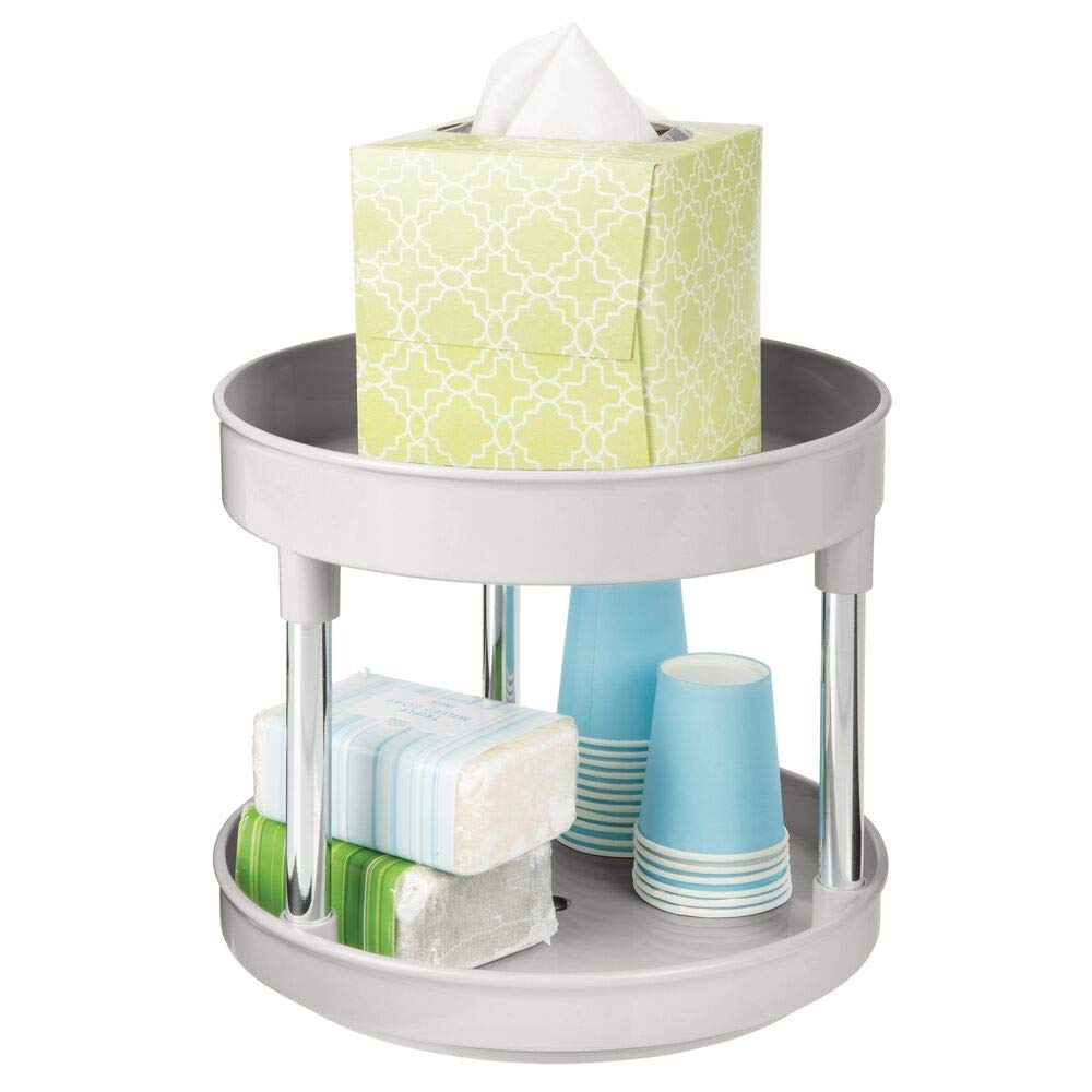 """mDesign Plastic Spinning 2 Level Lazy Susan Turntable Storage Tray - Rotating Organizer for Bathroom Vanity Counter Tops, Under Sink, Closets, Dressers - 9"""" Round - Light Gray/Chrome"""