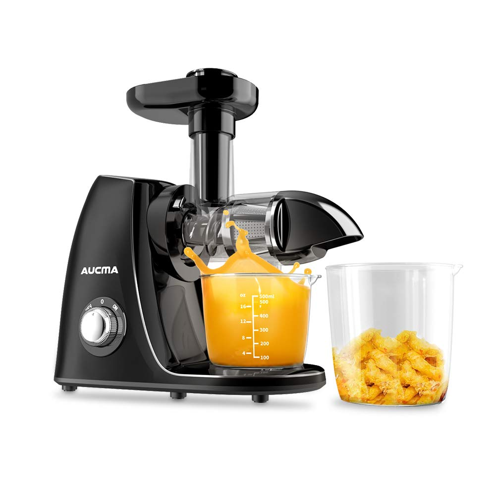 Aucma Juicer Machines, Cold Press Juicer Extractor Machine,Quiet Motor, Slow Masticating Juicer with Brush and Recipes, BPA-Free,Easy to Clean,Reverse Function