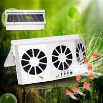STYLOOC Car Solar Air Circulator Exhaust Fan, Solar Powered Car Ventilator, Car Radiator,Eliminate The Peculiar Smell Inside The Car and Can Be Used for General Types of Cars(White)