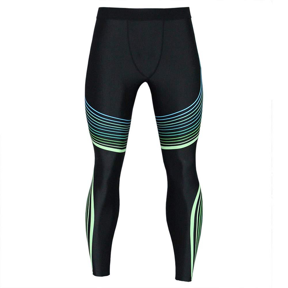 iYBUIA Casual Men's Printed Trousers Leggings Fitness Sports Gym Running Yoga Athletic Pants(Black,M)