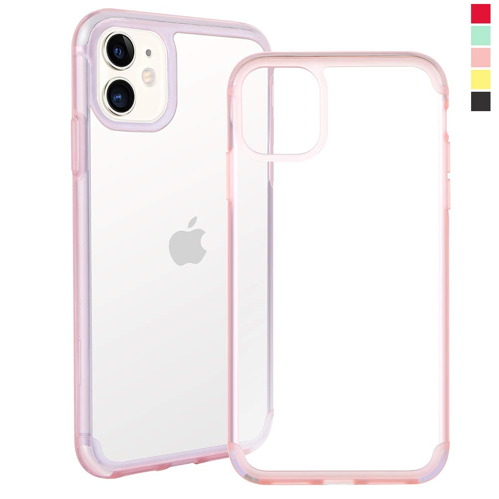Inbeage Transparent iPhone 11 Case Colorful iPhone 11 Case with Matching Color Edge Full-Protective Shockproof Slim Case for iPhone 6.1inch (Pink)