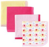 Luvable Friends Washcloths, Pink Elephant, 4 Count