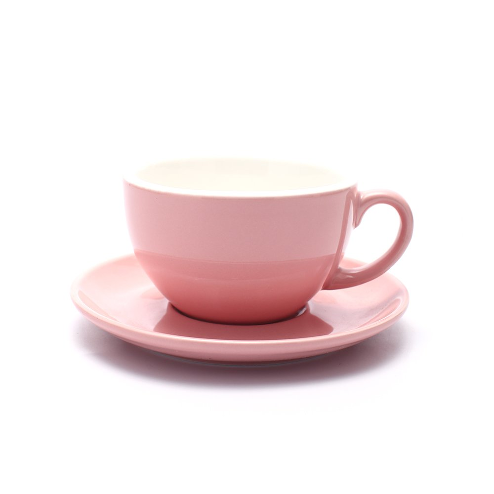 Coffeezone Americano Coffee Cup and Saucer Latte Art Cappuccino Barista Cups, New Bone China Coffee Shop (Glossy Pink, 8.5 oz)