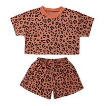 Toddler Baby Girls Leopard Print Summer Clothes Short Outfits Set T-Shirt and Short Pants 2pcs Outfits (Brown, Size:110(5T))
