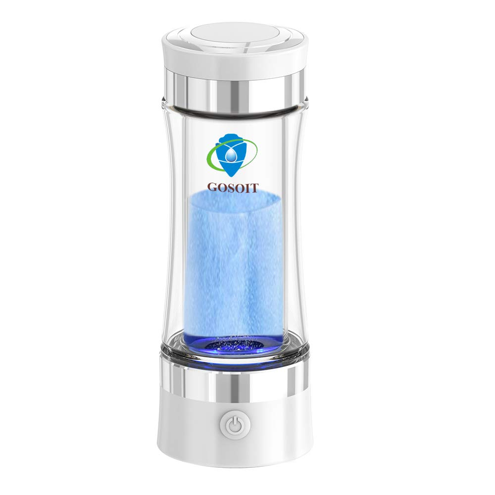 GOSOIT Hydrogen Alkaline Water Bottle Maker Machine Hydrogen Water Generator Ionizer with SPE and PEM Technology,US Membrane Make Hydrogen Content up to 800-1200 PPM and PH of 7.5-9.0