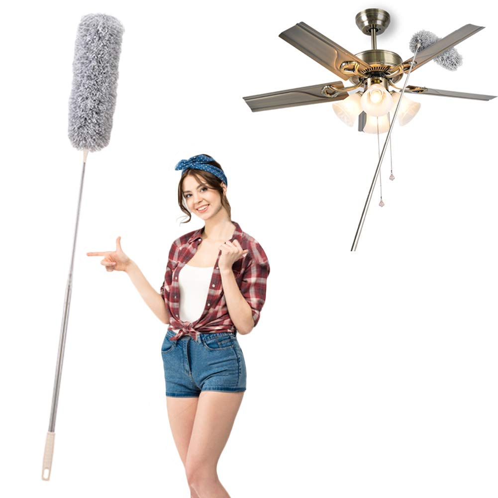 """Cobweb Duster with Extension Pole, Long Feather Duster (up to 100"""") Earth Dusters with Bendable Head and Stainless Steel Handle for Cleaning Swiffer Ceiling Fan Roof Blinds Furniture"""