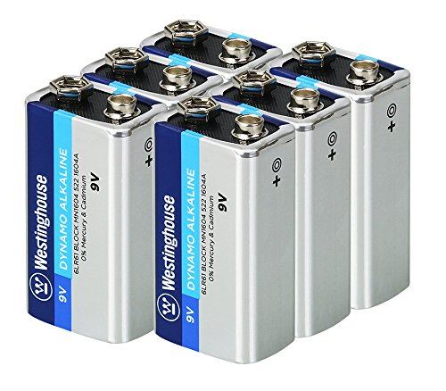 Westinghouse Alkaline 9V Batteries (Bulk Pack 6 Count), Leak-Proof & Long-Lasting Technology 9V Primary Batteries with Lasting Power for High Drain Devices (Non-Rechargeable)