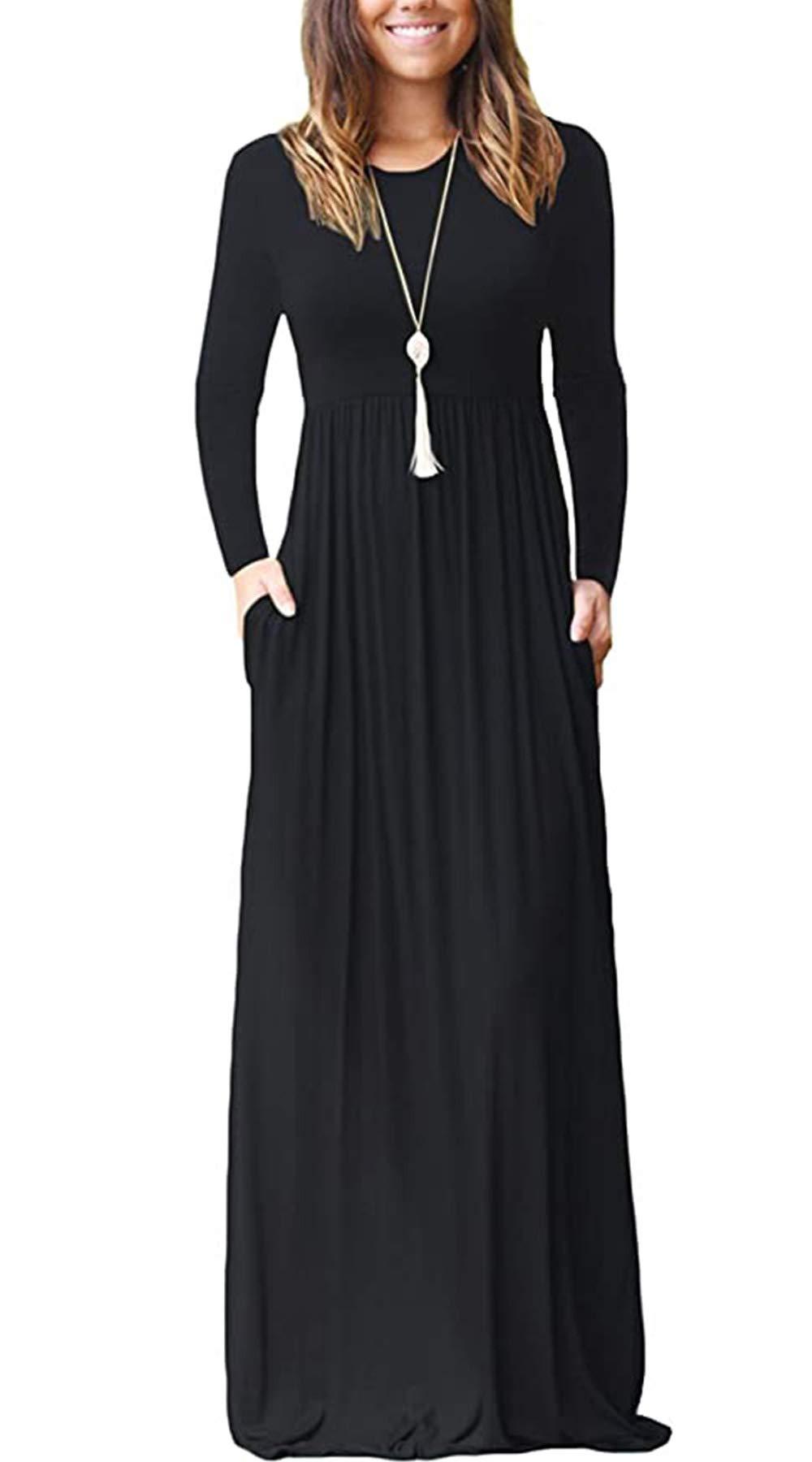 Sunzel Women Long/Short Sleeve Plain Maxi Dresses T Shirts Casual Dress with Pockets (Black - Long Sleeve Maxi, L)