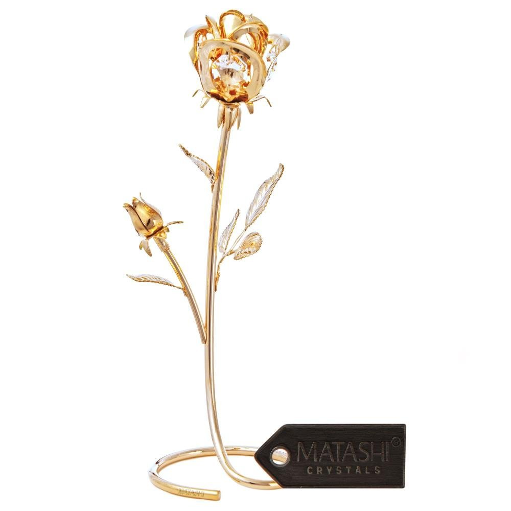 """Matashi CT3185N Premium Crystal Studded Everlasting Loving Rose Flower"""" Dipped in 24K Gold, in Luxury Box, by Best Day Gift Idea for Mother"""