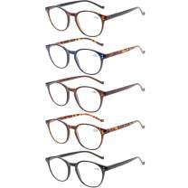 5 Pairs Reading Glasses - Standard Fit Spring Hinge Readers Glasses for Men and Women