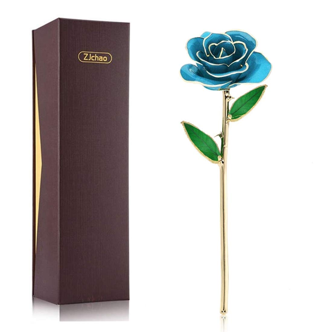 ZJchao 24K Blue Rose Gift for Her Mother's Day, Love Forever Real Gold Plated Eternity Rose Flower Gift for Her, Best Present for Anniversary, Wedding, Birthday, Graduation (Blue)