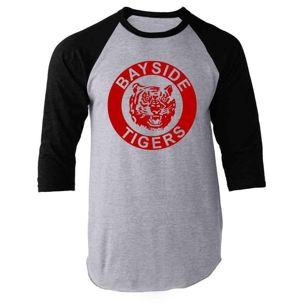 Bayside Tigers 90s Retro Halloween Costume Raglan Baseball Tee Shirt