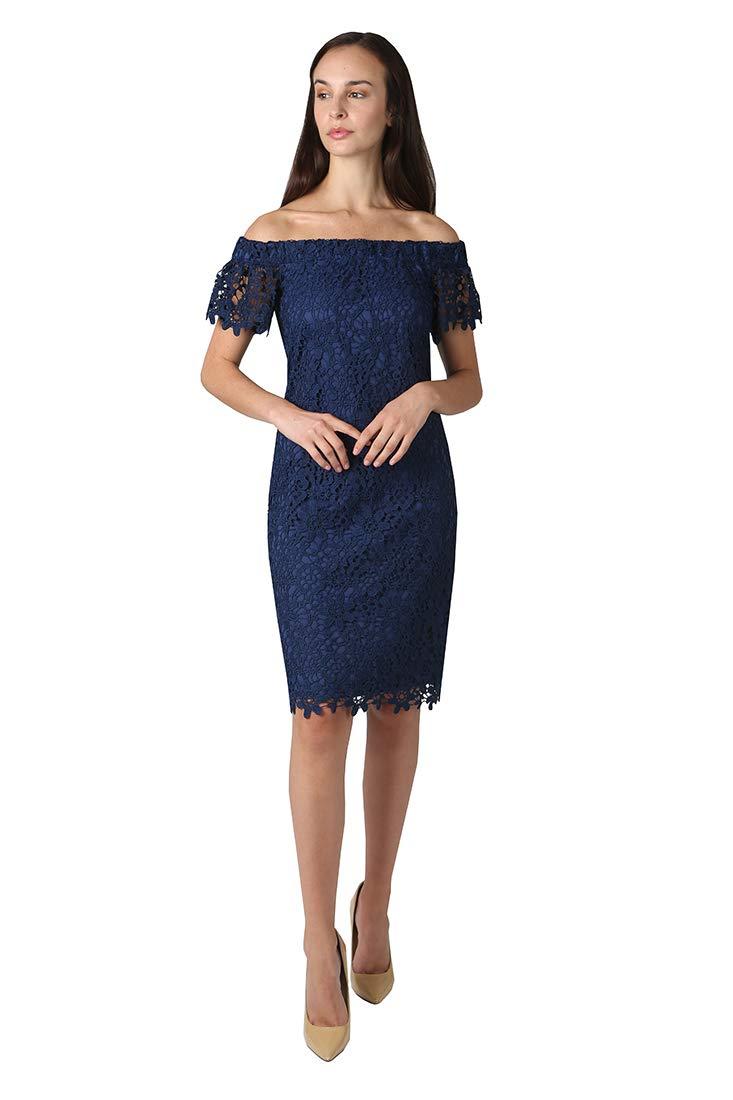 bebe Women's Off Shoulder Short Ruffle Sleeve Bodycon Lace Dress