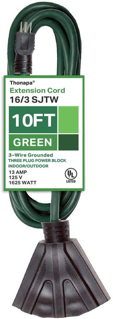 Thonapa 10 Ft Outdoor Extension Cord with 3 Electrical Power Outlets - 16/3 Durable Green Cable - Great for Christmas Lights, Garden and Major Appliances