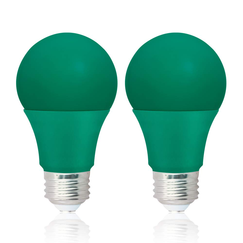 NOVELUX A19 Christmas Led Light Bulbs, 9 Watt Party Lights, 120 Volt Green Light Bulb E26 Base, UL Listed Led Light Bulbs Halloween Light Bulbs for Christmas, Party (2 Packs)