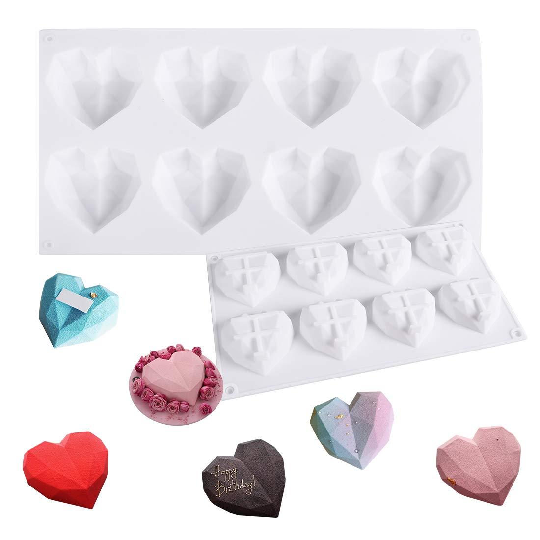 Silicone Heart Diamond Shaped Cake Mold Tray for Baking Chocolate Fondant Wedding Engagement Valentines Day (8 cavities Diamond Heart)