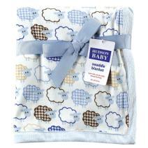Hudson Baby Unisex Baby Plush Blanket, Blue Sheep, One Size