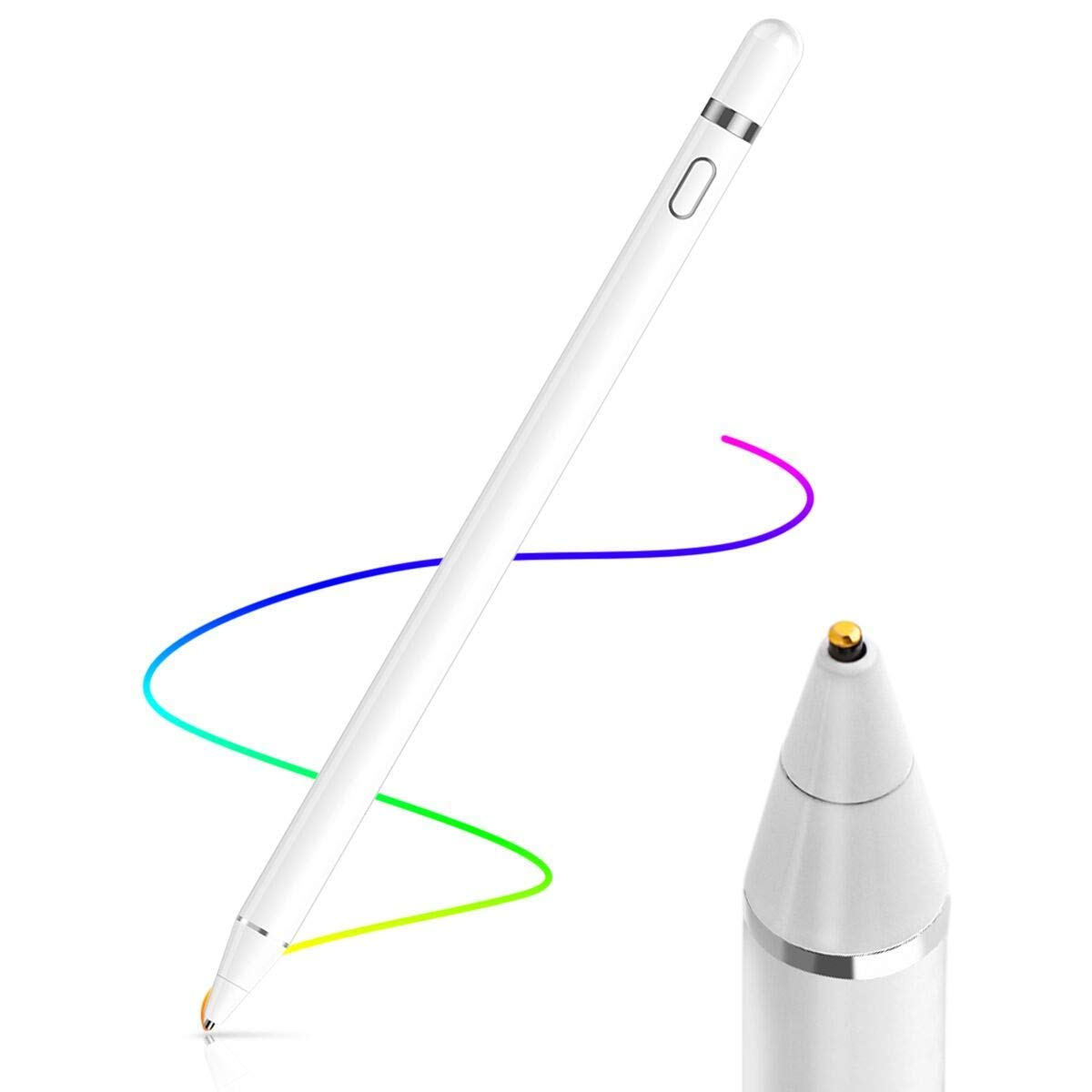 AICase Active Stylus Pen 1.45mm High Precision and Sensitivity Point Capacitive Stylus Compatible for Phone iPad Pro iPad Air 2 Tablets, Work at iOS and Android Capacitive Touchscreen