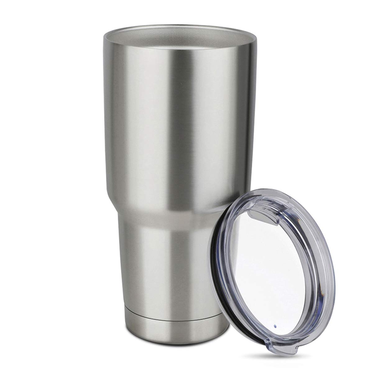 COMOOO 30oz Double Wall Vacuum Insulated Travel Mug - Stainless Steel Tumbler with Lid Coffee Cup for Cold & Hot Drinks (Silver,1 Pack)