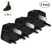 US to UK Power Plug Adapter, UROPHYLLA Type G Outlet Travel Power Adapter Plug for UK, Ireland, London, Hong Kong, Scotland, England, Dublin, Singapore - 3 Pack & Grounded 2 in 1 [Black]
