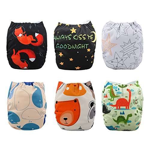 Babygoal Baby One Size Pocket Cloth Diapers Adjustable Reusable Nappy 6pcs+6 Inserts+6pcs Baby Wipes 6YDB10
