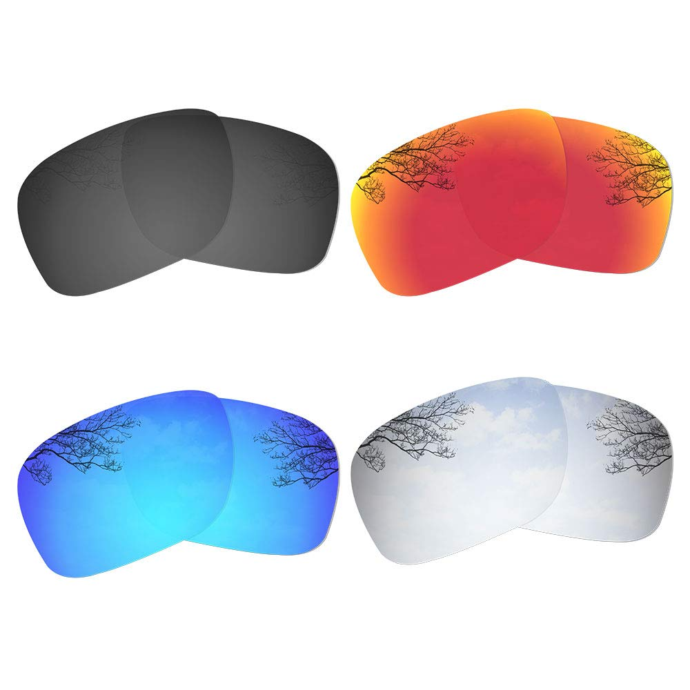 Dynamix 4 Pairs Polarized Replacement Lenses for Oakley Holbrook OO9102 - Solid Black/Fire Red/Ice Blue/Titanium