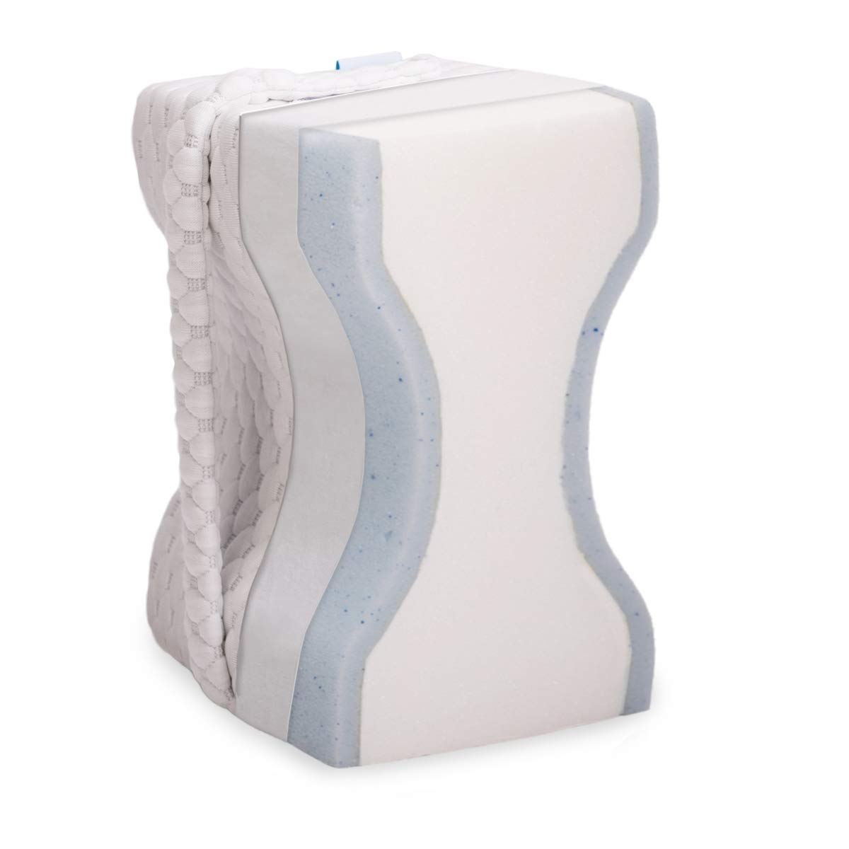 wavve Leg Pillow for Side Sleepers, Pregnancy Support, Hip, Sciatic, Lower Back Pain Relief Gel-Infused Memory Foam Knee Pillow Orthopedic Contour Under/Between Knee Pillow for Sleeping with Strap