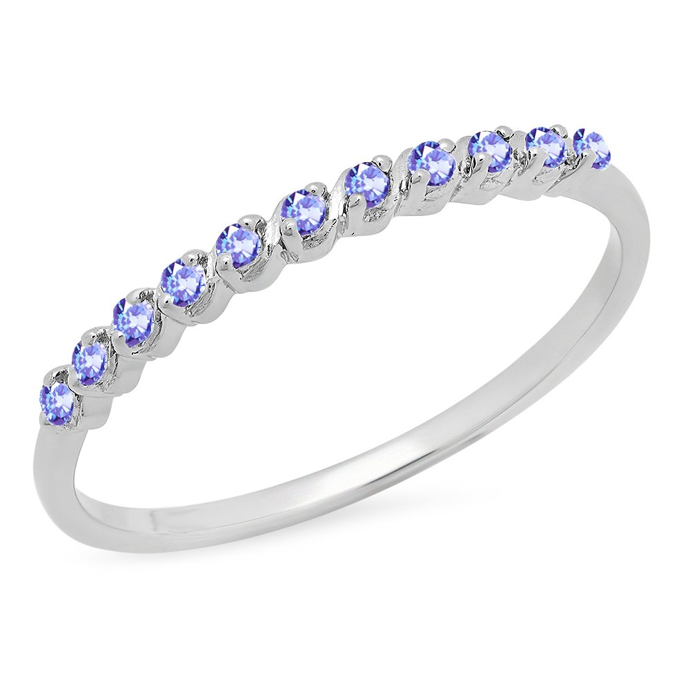 Dazzlingrock Collection 0.12 Carat (ctw) Ladies Anniversary Wedding Band Stackable Ring, Sterling Silver