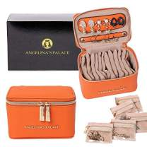 Angelina's Palace Jewelry Organizer Case Bridesmaid Gifts Travel Bag Vegan Leather Box for Necklace Earring Bracelet Ring(Light Terracotta)