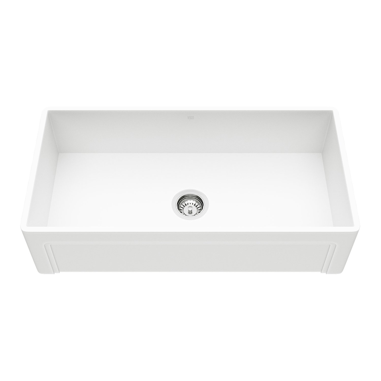 Vigo Vgra3618bl 36 X 18 X 9 5 8 Undermount Farmhouse Kitchen Sink Composite Solid Surface Single Bowl Reversible Apron Front Matte White Finish