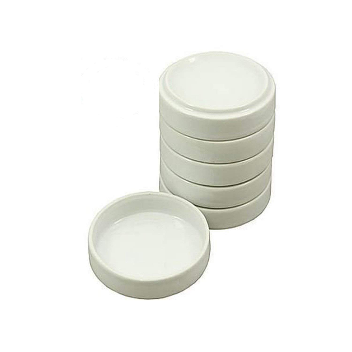 Vivid Porcelain White Round Watercolor Palette Container Dish with Lid – for Painting, Small Jewelry Storage, Sauce Dishes – 5-Pack