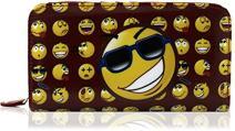 Kukubird New Girls/Ladies Large Sausage Dog Synthetic Leather Dachshund Cartoon Designs Purse Wallet (Smiley Emoji - Bordeaux)