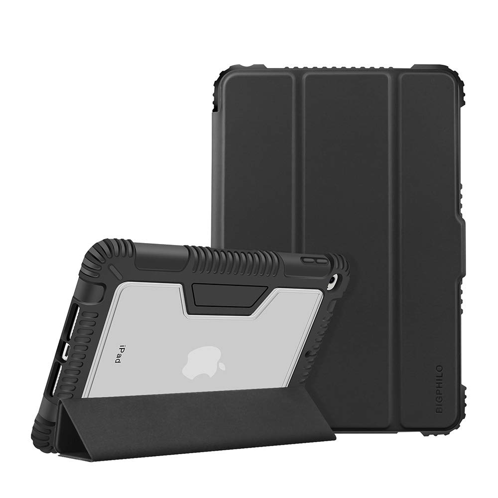 "BIGPHILO [SPA Series] Heavy Duty Protective Case for 7.9"" iPad Mini 5 (2019), Rugged Clear Back Case + Trifold Stand Front Cover, Smart Folio for iPad Mini 5th Gen (NOT for iPad Mini 1/2/3/4), Black"