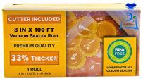 """Vacuum Sealer Roll & Bag Cutter (8"""" x 100') 4 mil 100 Foot Embossed Bags by OutOfAir 33% Thicker, BPA Free, Sous Vide, Commercial Grade, Works with All Machines"""