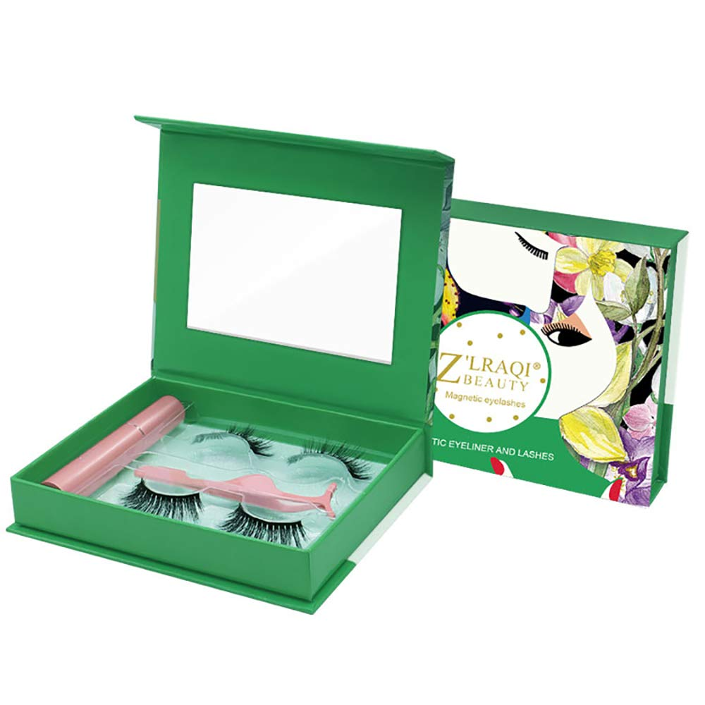 Magnetic Eyeliner and Lashes Kit With 3D Dramatic Waterproof Faux Mink 5 Magnets False Eyelashes Pack of 2 Pairs