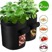 VANUODA 2 Pack Potato Grow Bags,Gardening Plant Growing Bags Bed,Garden Boxes Tomato,Carrot Vegetable Planter Container with Window Handles Flap Bottom Holes for Optimum Root Growth (7 Gallon)