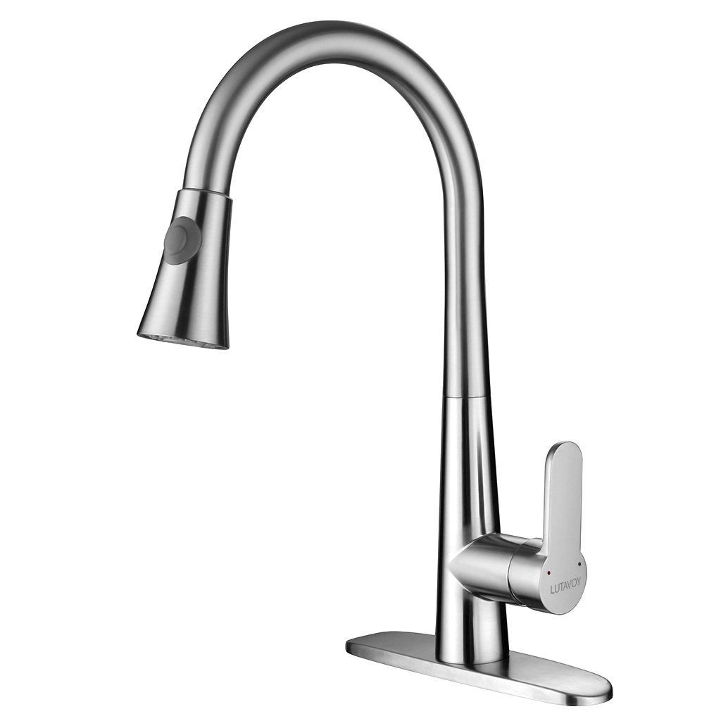 LUTAVOY Single Handle Kitchen Faucet Brushed Nickel Kitchen Sink Faucets with Sprayer Lead Free Brass(D0651)