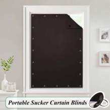 StangH Cordless Blinds Sun Blocking Curtain - Adjustable Temporary Blackout Privacy Panel Drapery with Suckers for Living Room Window Use, Brown, Wide 51 by Long 78 Inch, 1 Panel