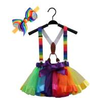 GUCHOL Little Girls Layered Tulle Rainbow Tutu Skirt with Suspenders and Headwear for Girls Costumes