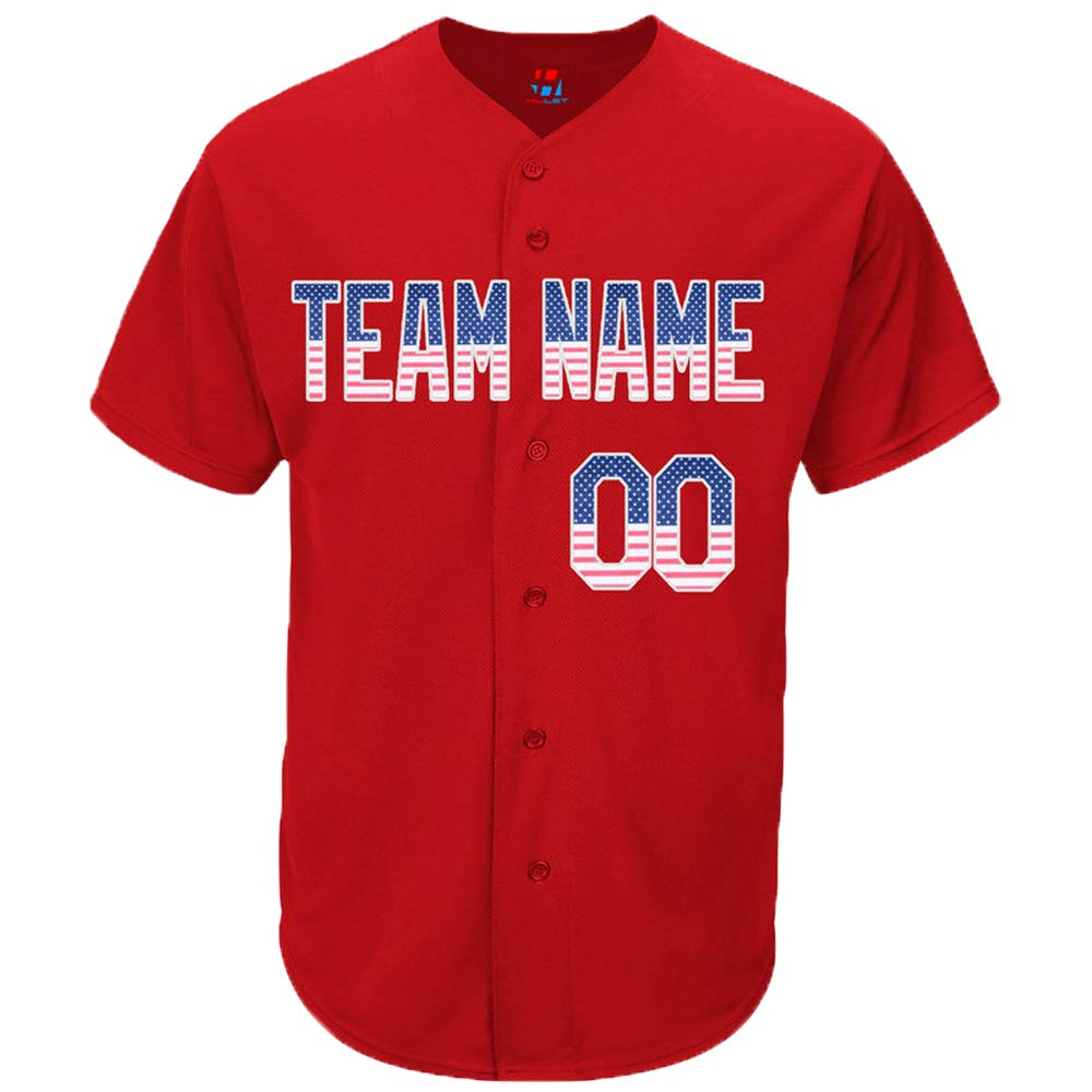 Pullonsy American Flag Custom Baseball Jersey for Men Women Youth Button Down Stitched Name & Numbers S-8XL - Design Your Own
