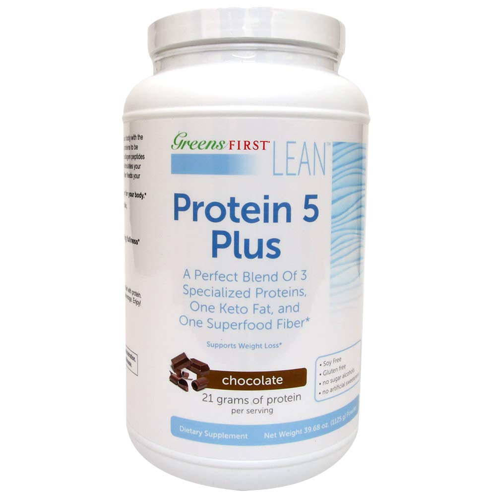 Greens First Lean Protein 5 Plus Dietary Supplement – Protein Powder with Whey Protein, Collagen Protein and MCT Oil – Nutritional Supplement – Chocolate