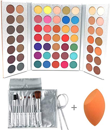 Beauty Glazed 63 Colors Eyeshadow Professional Makeup EyeShadow Palette Powder With Profession Makeup Brushes Set and Powder Blender Gorgeous Me Cosmetics Perfect Color Eye Shadow Tray Set