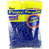 Darice Blue Opaque Pony Craft Projects for All Ages Jewelry, Ornaments, Key Chains, Hair Round Plastic Center Hole, 9mm Diameter, 1,000 Beads Per Bag, 1000