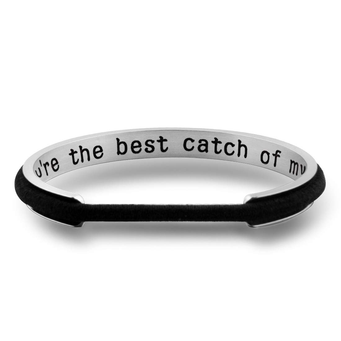Zuo Bao Hair Tie Bracelet for Girlfriend Wife You are The Best Catch of My Life Cuff Bangle Funny Fishing Gift from Husband